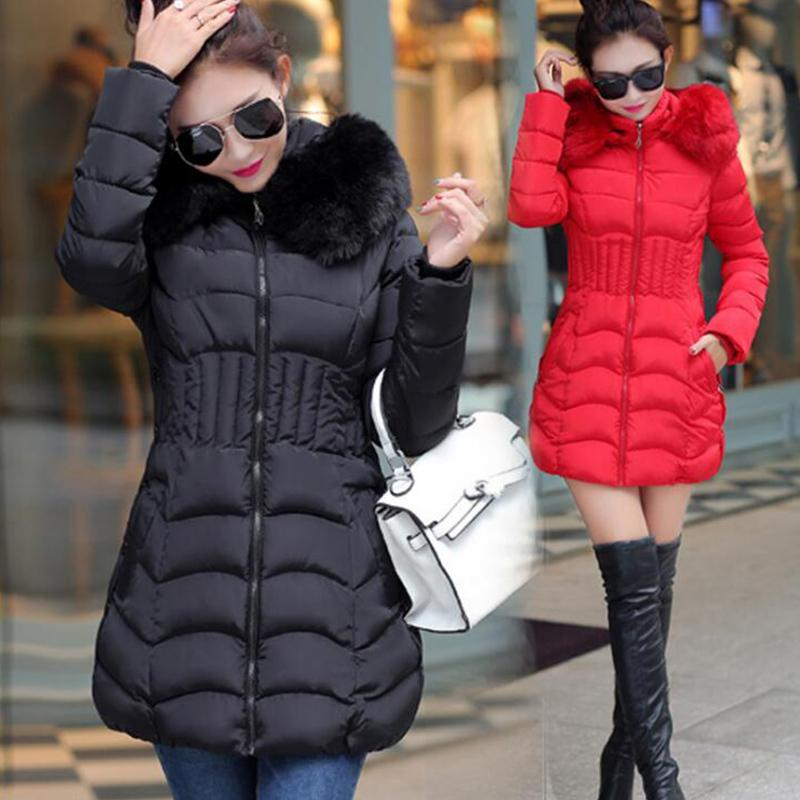 Down Winter Women Casual Fur Collo in pelliccia con cappuccio Giacca femminile calda spessa lunga lunghezza cappotto da donna Plus Size L81205