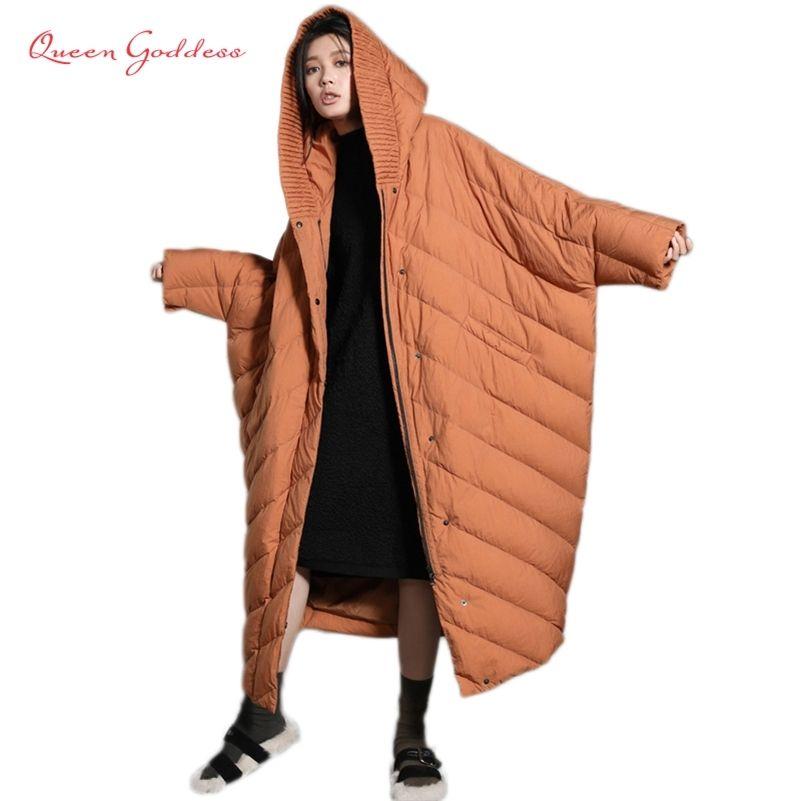 Kış Koza Ceket Yarasa Kollu Moda Stil Gevşek Ve Nedensel Trend Bayan Süper Uzun Süper Artı Boyutu Aşağı Ceket Hood Parkas 201214