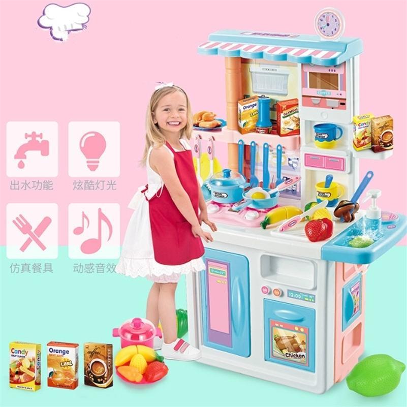 87cm Hauteur Enfants Big Cuisine Ensemble Prestention Jouets Jouets Cuisiner Food Food Miniature Jouer à Maison Education Jouet Cadeau pour Fille Kid D176 LJ201211
