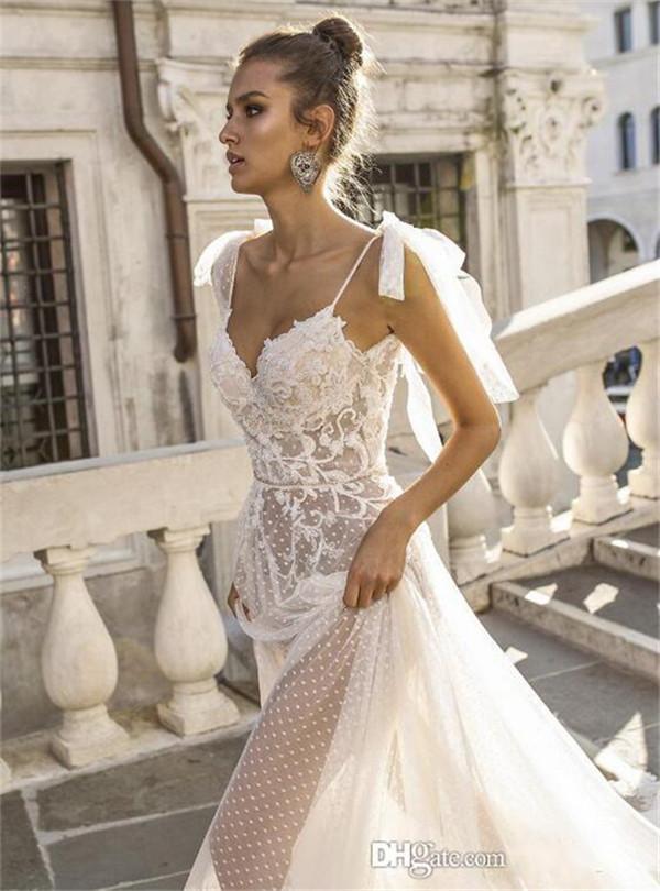 Real Image Boho A-line Wedding Dresses Spaghetti Straps Illusion Lace Backless Bridal Gowns Vestido De Novia Beach Wedding Dress Cheap