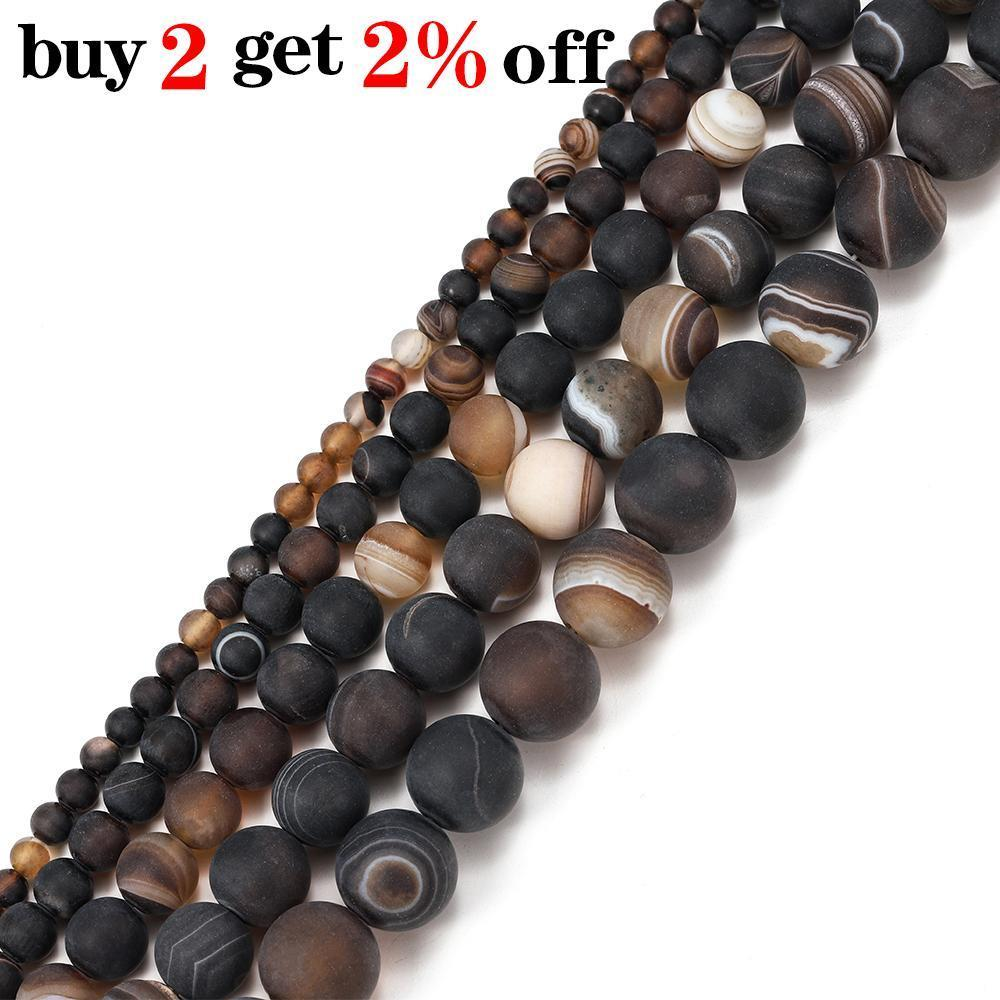 1STRAND LOT 4 6 8 10 12MM Mate Coffe Strips Agates Beads Stone Redondo Perla suelta para Pulsera Joyas Mensajes Suministros al Por Mayor H JLLVH