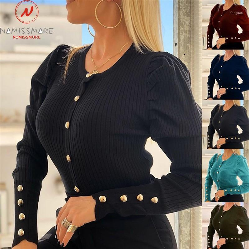 Femmes élégantes Spring Spring Authorn Sweaters Bouton Décor O-Cou Sle manches longues Couleur Slim Coffre confortable Cardigan