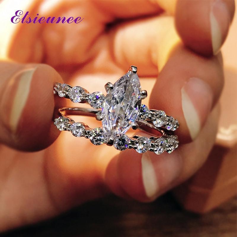 Cluster Anneaux Elsieunee 100% 925 Sterling Argent Marquise simulé Moissanite Diamond Bague de fiançailles de mariée Ensembles de mariée en gros