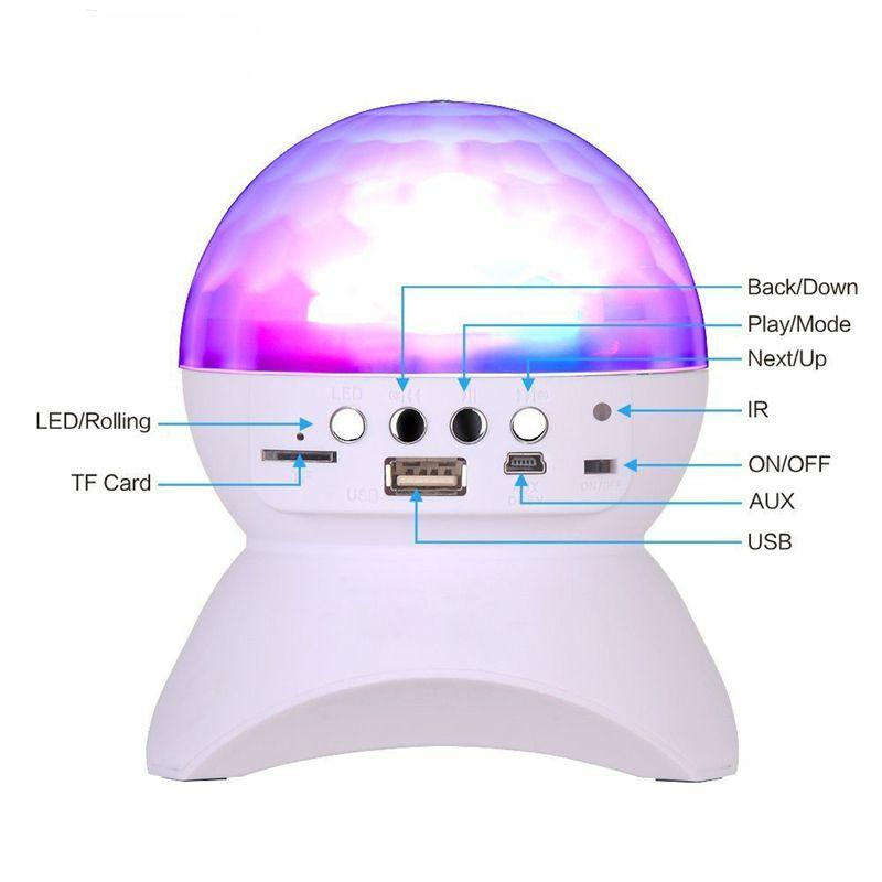 Bluetooth LED Crystal Magic Ball Stage Effect Light 1000mAh RGB DJ Club Disco Party Beleuchtung mit USB TF FM Radio Bluetooth Lautsprecher HHD4799