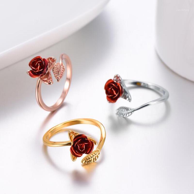 Mulheres Anel Red Rose Garden Flor Folhas Aberto Anel Red Red Rings para Mulheres Dia dos Namorados Presente Jóias1
