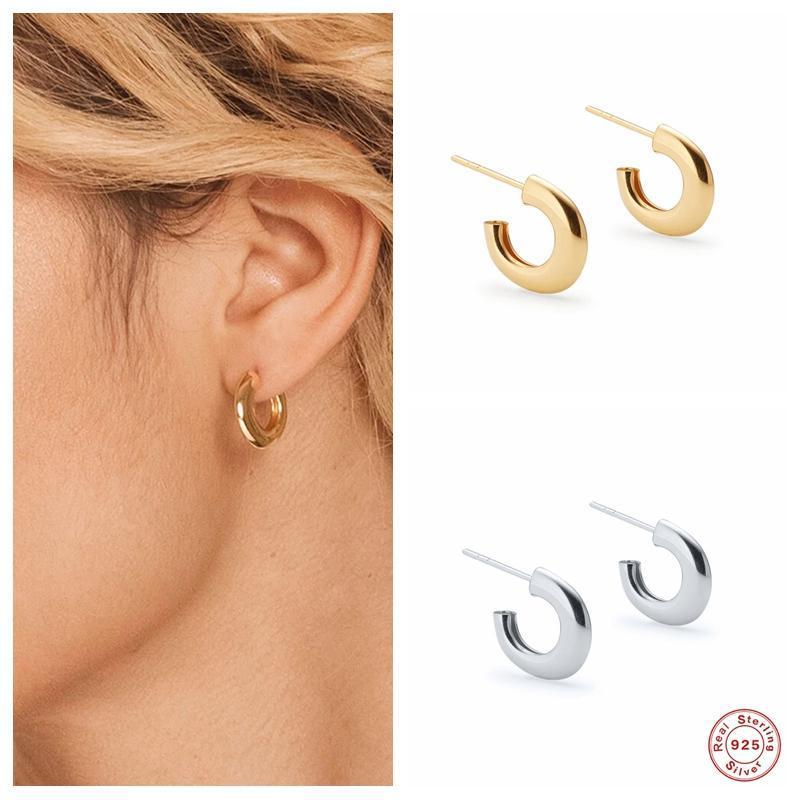 Aide 925 Sterling Silver Nouvelle Mode Ouverture Tube Tube Boucles d'oreilles pour femmes Petite Cercle de boucle de forme C Boucle d'oreille Fine Bijoux Cadeaux