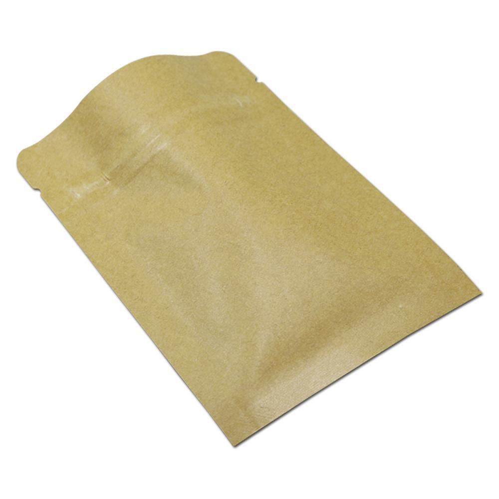 200 adet lot Kahverengi Zip Kilit Gıda Depolama Ambalaj Çanta Kraft Kağıt Alüminyum Folyo Kendinden Sızdırmazlık Isı Mühür Kahve Çay Kılıfı H SQCYDB