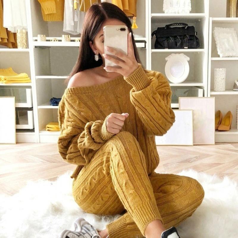 2020 Outono Mulheres de Algodão Tracksuit Calças de Camisola Conjuntos Top + Calças Knit Set Off Should Knitted Terno Mulheres Outwear 2 pcs