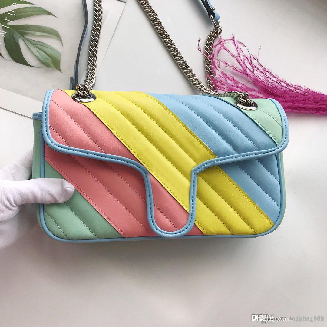 Femmes Designer Sac à bandoulière Colorblock Sac Petite chaîne FLAP Cross Body Sacs à main Haute Qualité En cuir véritable sac à main matelassée Freeshipping