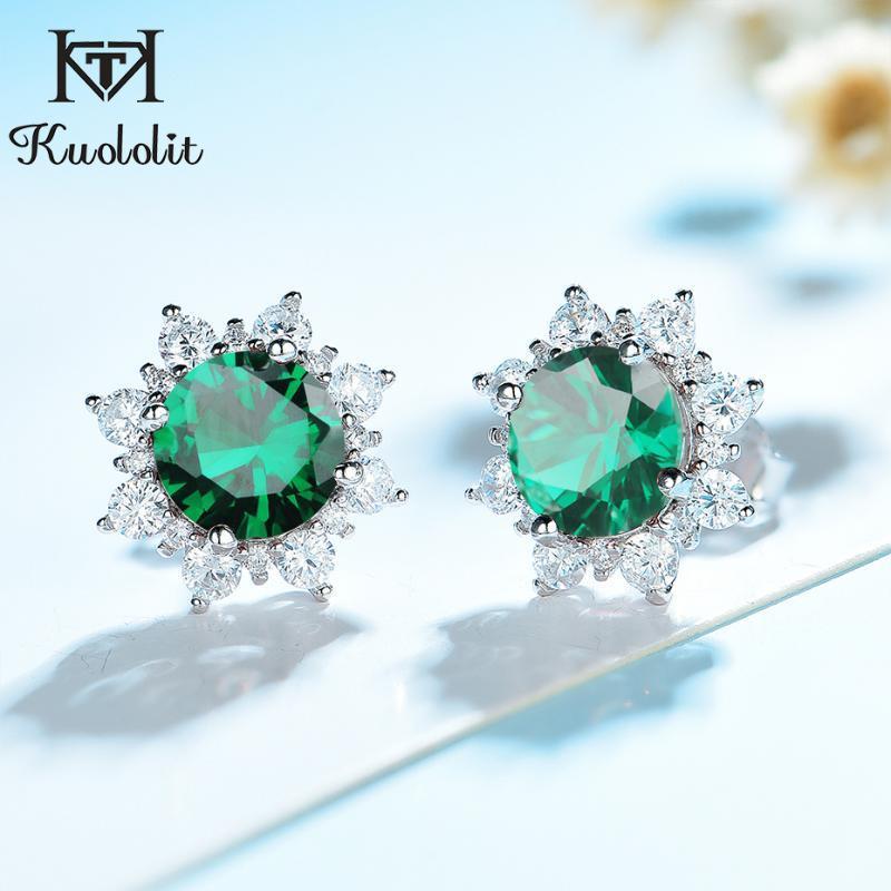 BUTH Kuololit Smaragd Ohrringe für Frauen 100% Solide 925 Sterling Silber Edelstein Schmuck Engagement Mode Großhandel