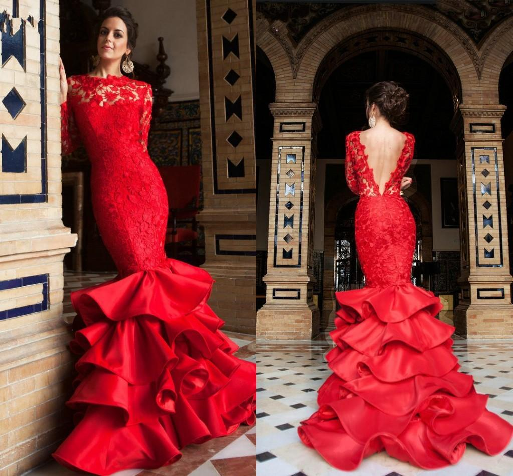 2021 Lace Satin Ruffle Evening Gowns Formal Elegant Womens Mermaid Style V Open Back Bateau Prom Bridal Dress Guest Specail Occasion Dress