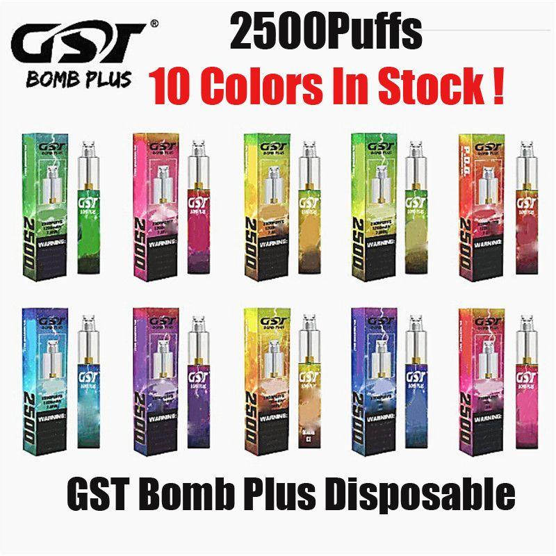 100% Orijinal GST Bomba Artı Tek Kullanımlık Kiti 2500 Puf Buharı 7 ml Pod Cihazı 1200mah Vape Kalem Sopa XXL XTRA Akış Laboratuvarları Hakiki