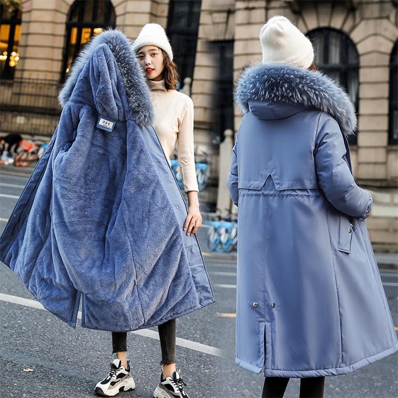 Fashion Bubble Coat Women Warm Fur Lining Cotton Padded Oversized Long Jacket Winter Female Puffer Jacket Parkas Mujer New 201211