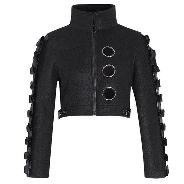 Женщины Короткого Wollen Ушко оборки High Street пальто куртка 2020 Y1112