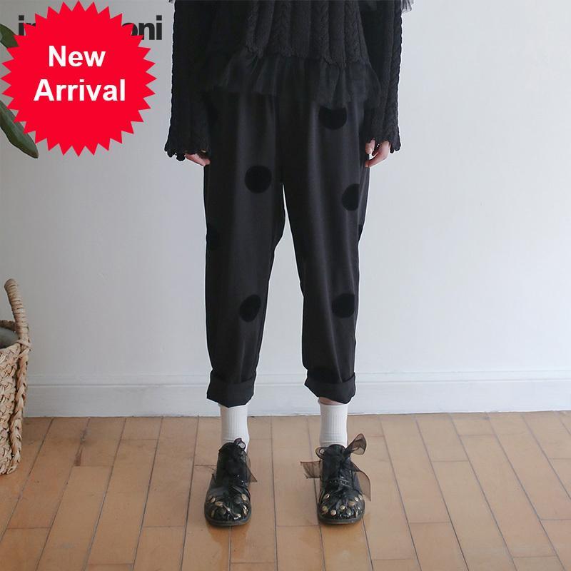 Imakokoni roupas femininas originais pilhas de onda preto solto casual fino nine-point harem calças primavera e outono 172083