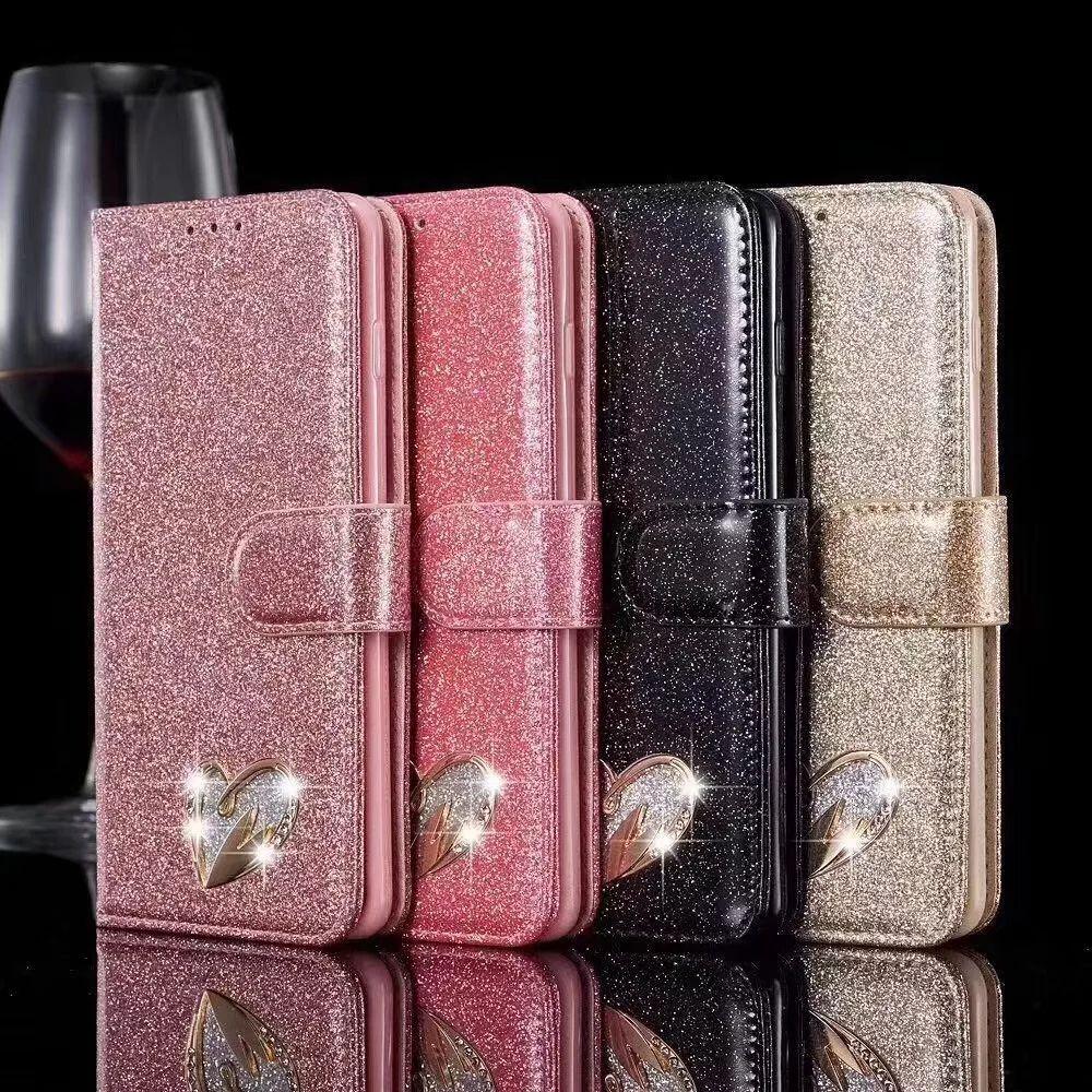 Étui de portefeuille en cuir d'amour pour Samsung Galaxy A12 5G A52 A72 S21 ULTRA S20 FE A51 A71 A20E S10E Sparkle Luxe Diamond Bling Blitter Flip Cover Porte-titres