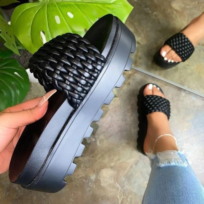 Summer Outdoor Weaving Slippers Women Plataforma Wedges Tacón Talle Suela Suela Sexy Tendencias Diapositivas Sandalias de playa Sandalias Ladies Zapatos 2021