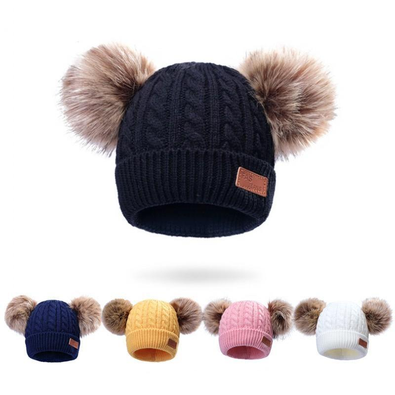 DHL Ship 8 Styles New Winter Hat Boys Girls Knitted Beanies Thick Baby Cute Hair Ball Cap Infant Toddler Warm Cap Boy Girl Pom Poms Warm Hat