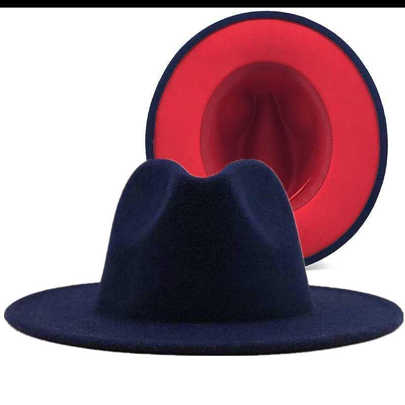Простой военно-морской флот с красным нижним пэчворком Панама шерсть войлока джазовые Федоры шляпы женщины мужчины широкие Brim Party Cowboy Trilby Gambler Hat