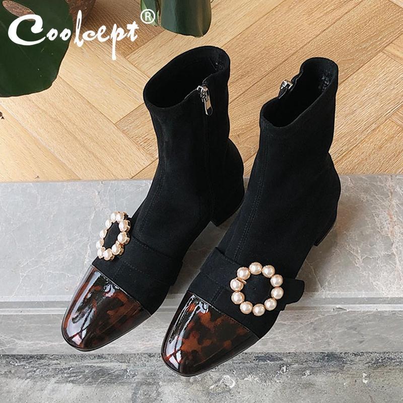 Coolcept Kadınlar Moda Ayak Bileği Çizmeler Kare Toe Kalın Topuk Gerçek Deri Inci Patchwork Ayakkabı Çorap Botlar Zarif Boyutu 34-40