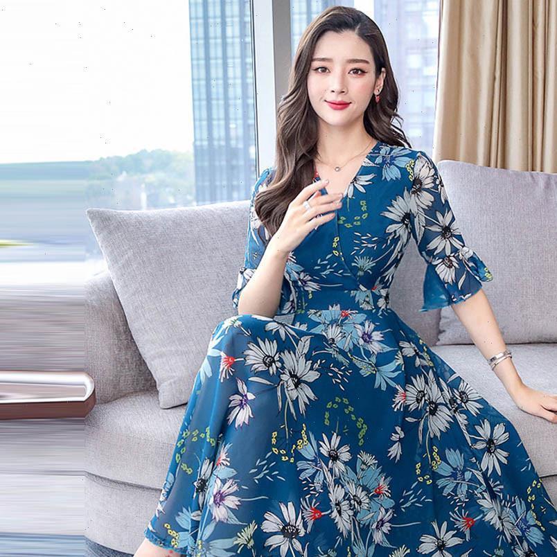Vintage floral mulheres vestido longo verão uma linha divisão lanterna meia manga primavera elegante retro maxi boho vestido mulheres vestidos j30