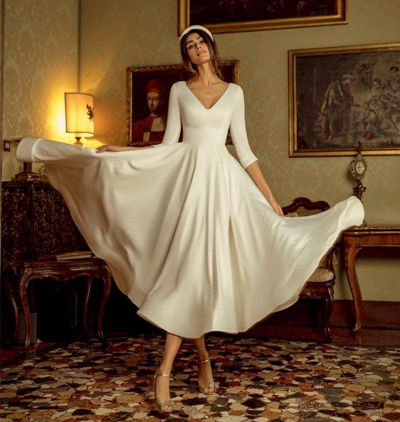 Новые простые белые свадебные платья с длиной чая с половиной рукава Soft Beach Beach Boho Bridal Princess Party Party Chrose Cheap 2021