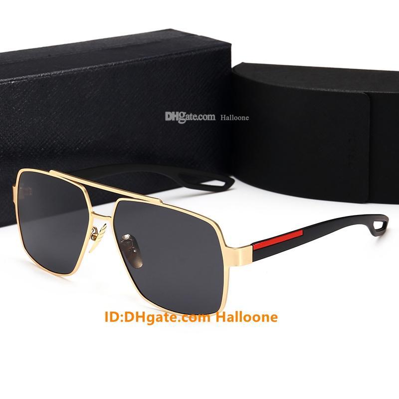 Hot 2021 Modedesigner Sonnenbrillen für Männer Frauen Metall Vintage Sonnenbrille Mode Stil Square Rrahmenloses UV400 Objektiv Original Box und Fall