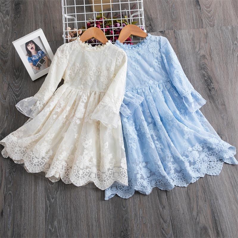 Full Elegant Vintage Lace Kids Flower Muchacha Vestido Little Girls Fiesta Boda Formal Vestidos Largos
