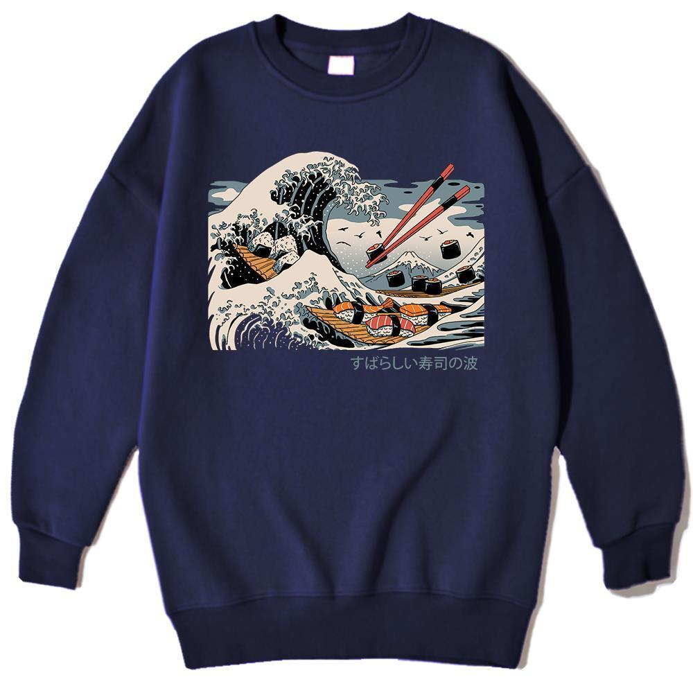 Sushi Wave Ukiyo e Harajuku Imprime Homme à capuche Créativité Sweats Sweatshirt Vintage Sweat-shirt Simplicité Mens Vêtements