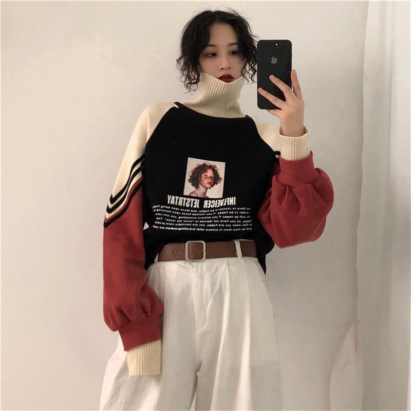 2020 New Hoodie Frauen-Winter-Aufmaß Tops Mode-Muster gedruckt Sweatshirt Herbst Turtleneck Oberbekleidung Warm Pullover