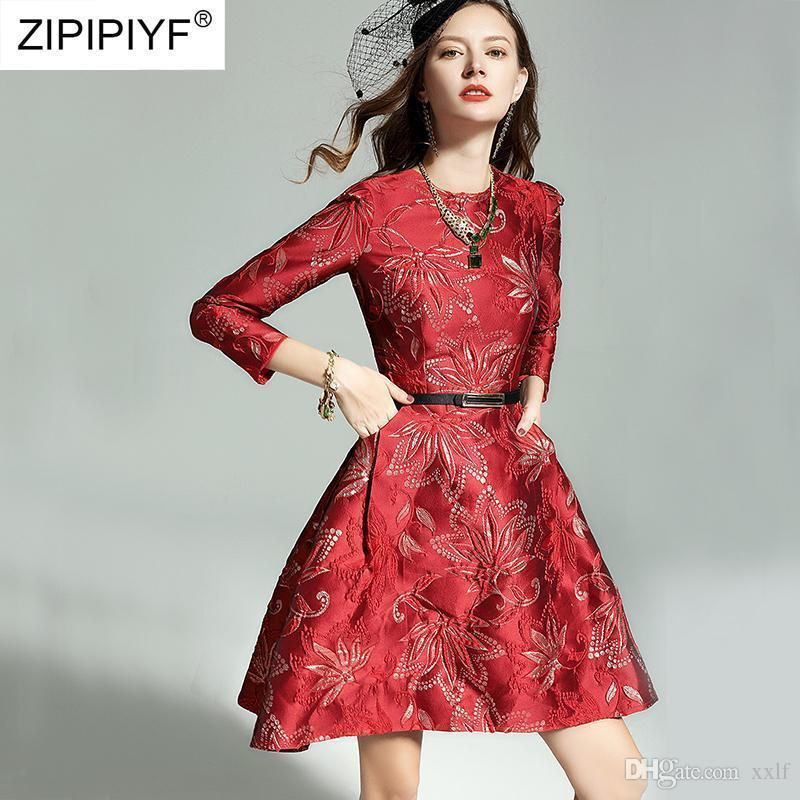 Womens Jacquard Elegante Vintage Dobby Stoff Blume Unregelmäßige große Saum Kleider Abend Party Kleid Dreiviertel Vestidos H6911