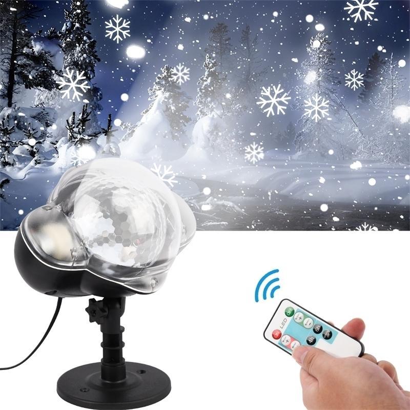 Светодиодный снегопад Светостойкий Водонепроницаемый IP65 Открытый Рождественский Снежинка Прожектор С Пульт дистанционного управления на день рождения Halloween 201031
