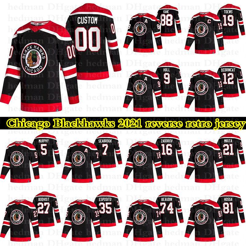 Chicago Blackhawks 2021 Reverse Retro Jerseys 88 Patrick Kane 19 Toews 77 Dach 12 Alex Debrincat Personalizzato Qualsiasi numero Qualunque nome Hockey Jersey
