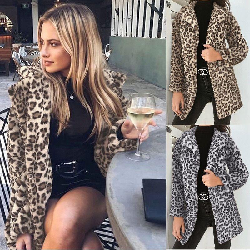 Womens Leopard Flaumy Fleecejacke Mantel Strickjacken Mit Kapuze Jumper Tops Neueste Heiße Herbst Winter Clubwear