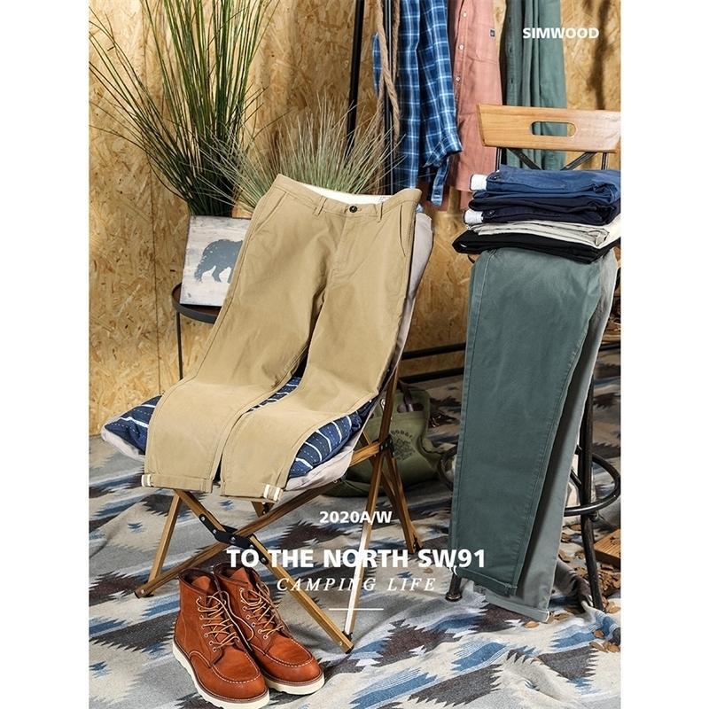 Simwood Sonbahar Kış Yeni Pantolon Erkekler Pamuk-Dimi Chinos Slim Fit Konik Klasik Enzim Yıkama Pantolon SJ130875 201116