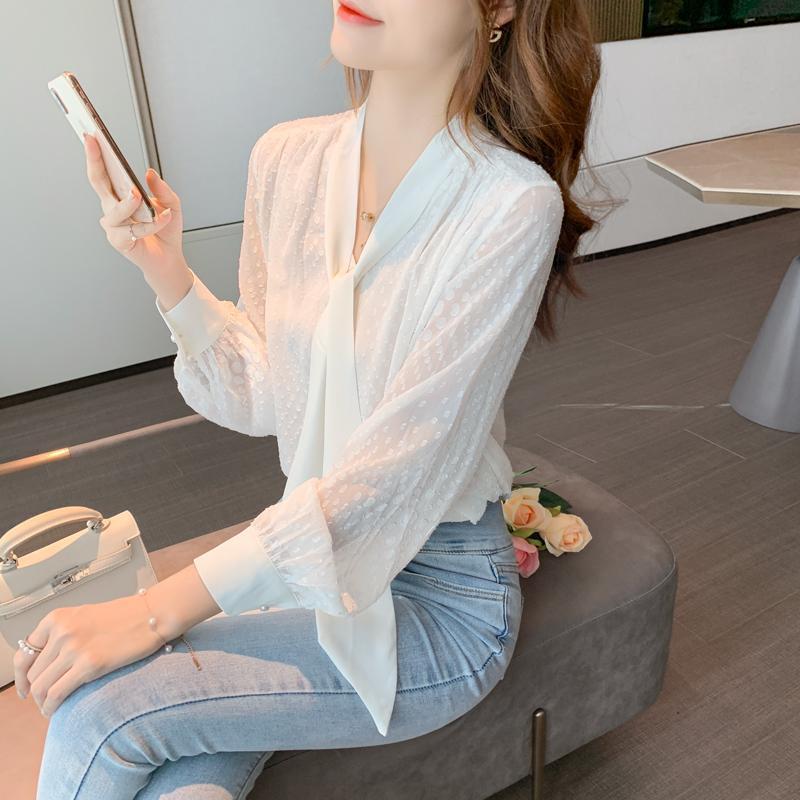 Ücretsiz Kargo Kadın Kaliteli Feminina kadın Vintage Bluz Moda Giysileri 2021 Bahar Beyaz Şifon Gömlek Kadın A6102