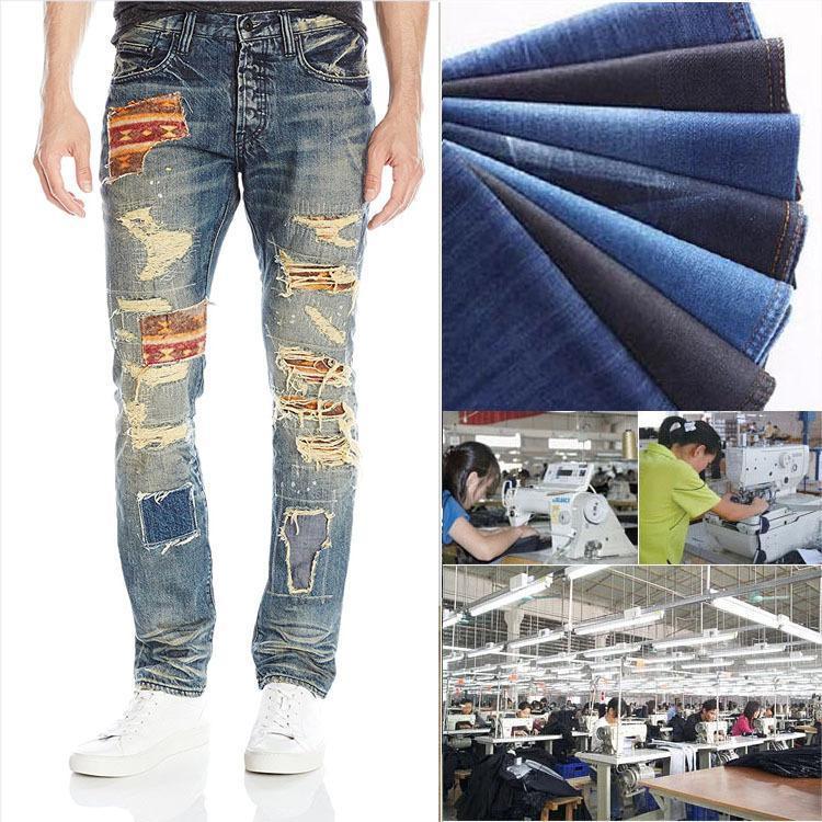 Jeans de retalhos jeans homens de alta qualidade rasgado jeans meados de cintura de cintura lavar calças retas hip hop mens solto streetwear