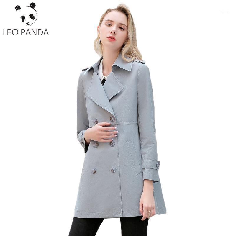 Neue Mode Weibliche Frühling Herbst Mantel Frauen Lange Zweireiher Taschen V-Ausschnitt Jacken Lose Hochwertige Windmantel C 4321