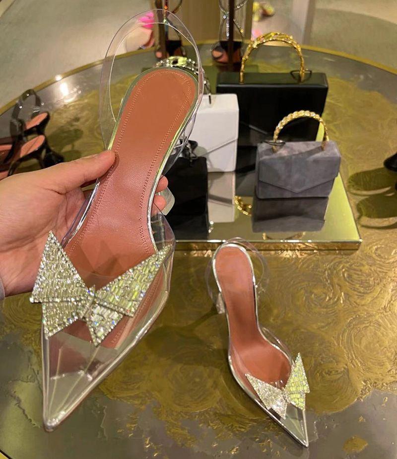 4cm 7cm 9cm 투명한 샌들 여성 지적 맑은 크리스탈 컵 하이힐 Stilettos 섹시한 여름 신발 엿보기 발가락 펌프 크기 43