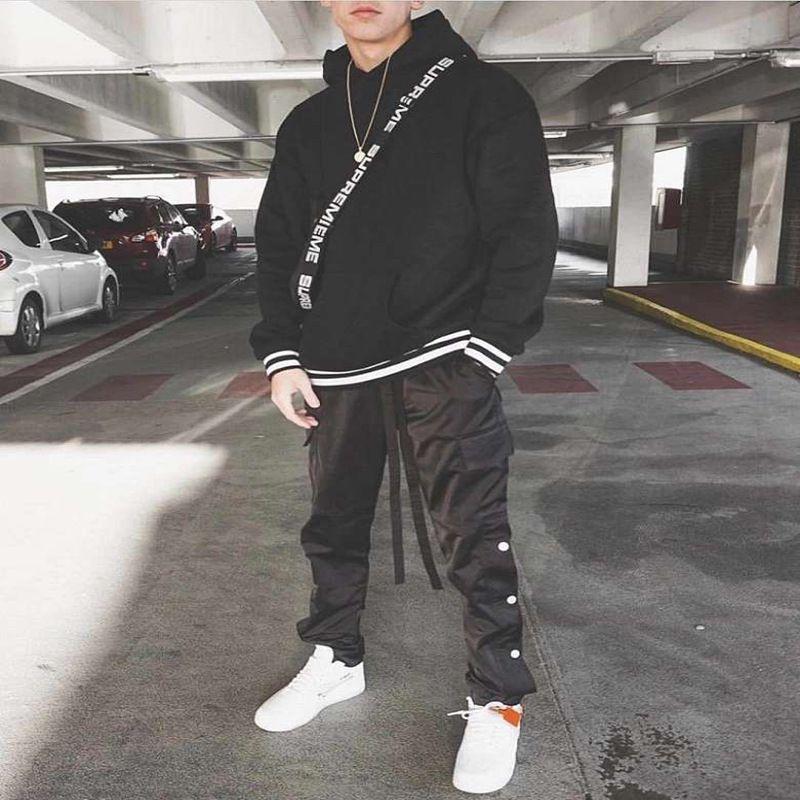 Muscle Brother Fog High Street Kanye Stessi pantaloni con bottoni laterali Pantaloni casual tuta