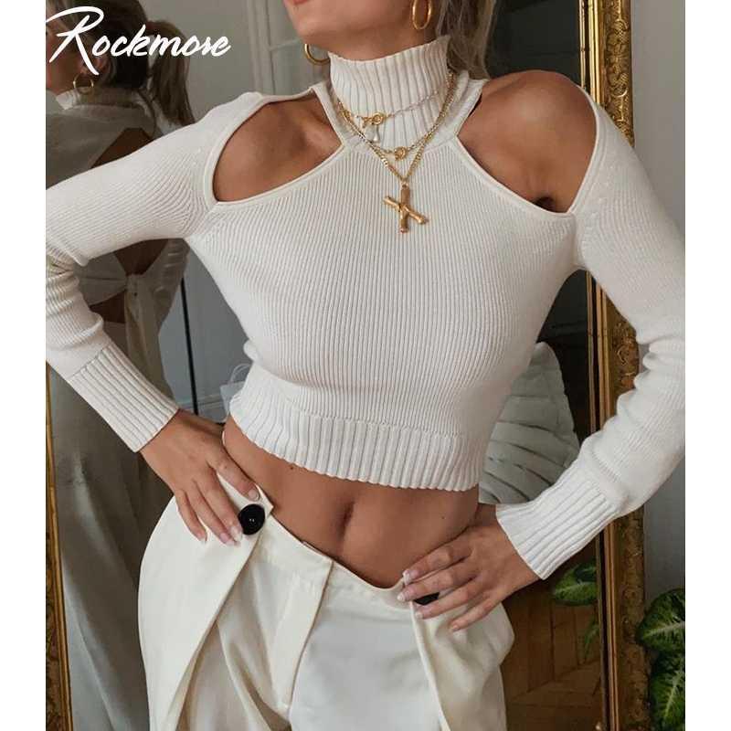 Rockmore Turtscheck aushöhlen Pullover frauen Pullover Schmetterlingsarmband Langarm Crop Top Basic Weiß Harajuku Koreanische Kleidung