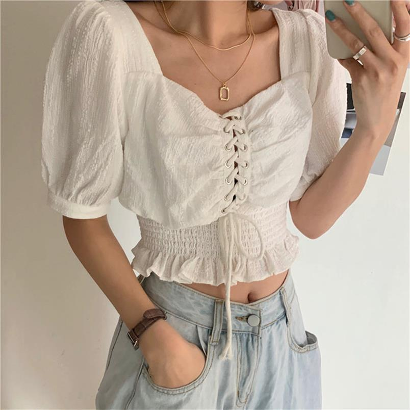 Puff Sleeves High Waist Square Collar Summer 2020 Gentle Hot All Match Plus Size Women Lace Up Sexy Short Blouses