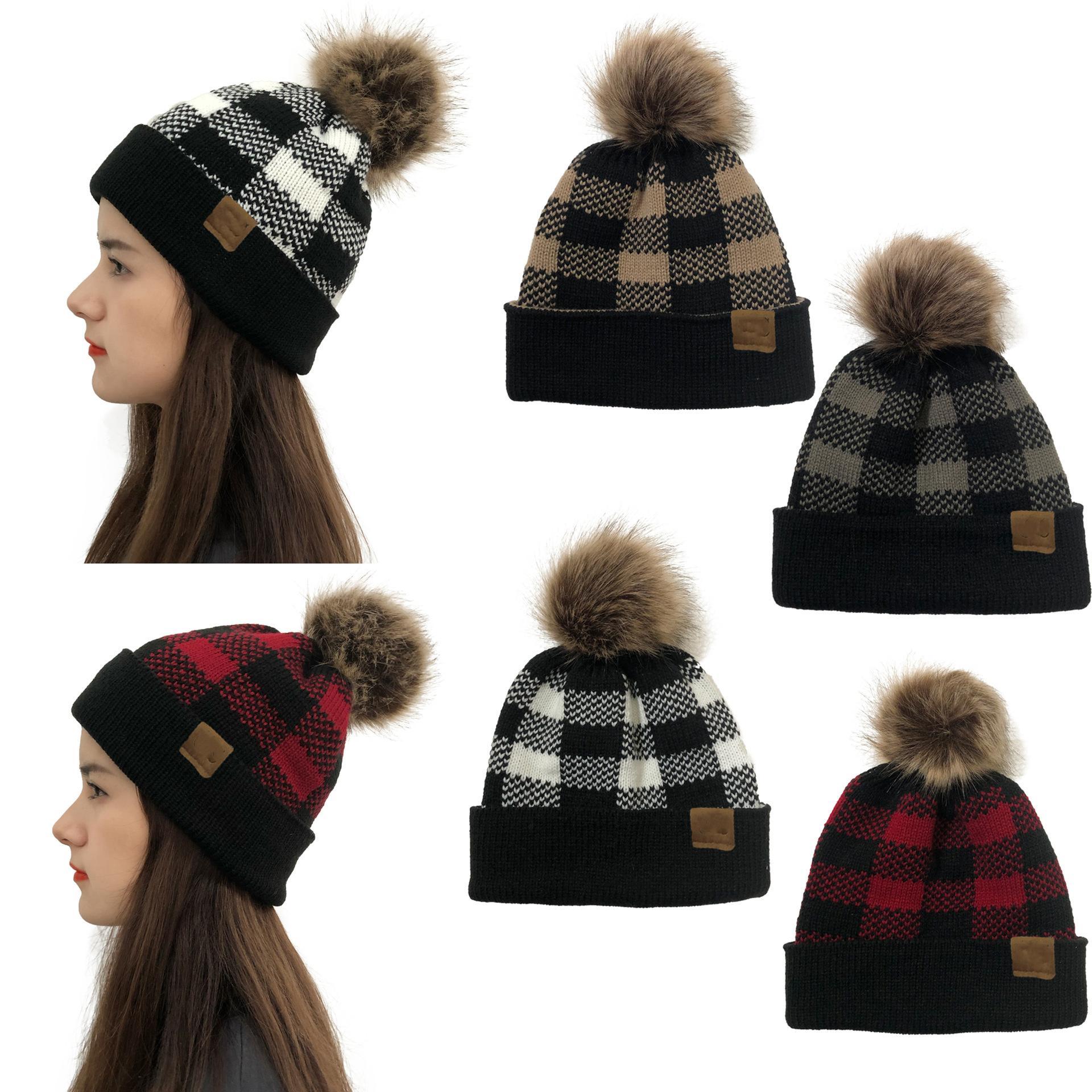 جديد الصوف قبعة عيد الميلاد شعرية وضع علامات الصوف القابلة للفصل الكرة كرة لوليد محبوك الشتاء قبعة دافئة للرجال والنساء المصممين قبعة القبعات