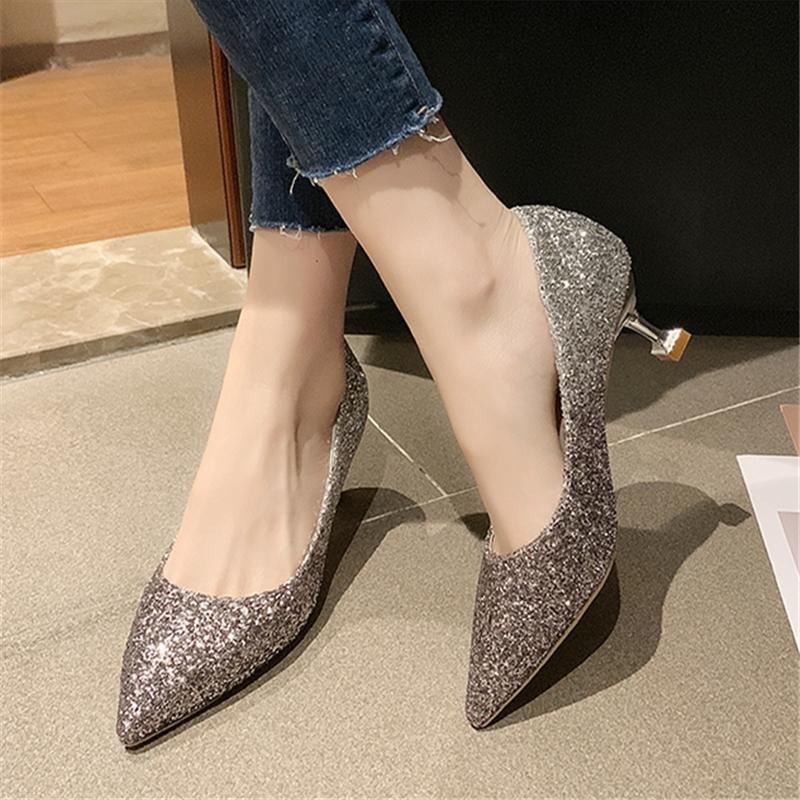 Hot Sweet-Sweet High Quality Golden Tacones altos para las señoras Bridal Sexy Party Silver Heel Shoes