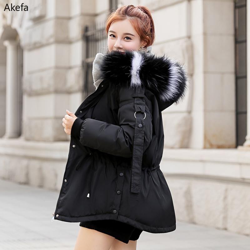 2021 koreanische stil winterjacke frauen mit pelz kragen outwear weinlese baumwolle gepolsterte weibliche parka kurze mantel mode