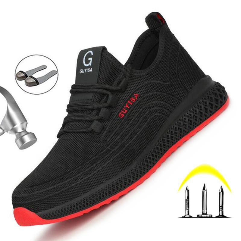 Yadibai Nova Malha Respirável Sapatos de Segurança Homens Botas de Segurança Botas de Trabalho Homens Punture-Proof Trabalho Sapatilhas com Toe de Aço LJ200917