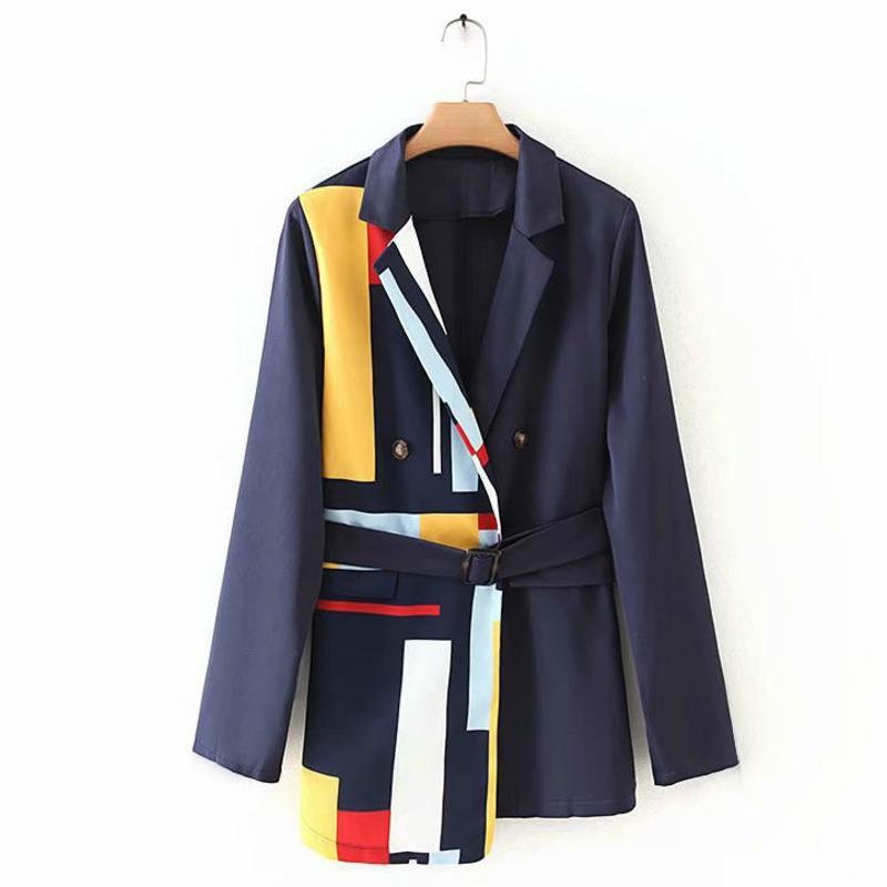 [EWQ] 2020 Récupérez Nouveaux Blazer Sweet Blazer Patchwork Dames Dames Get Style coréen Strase Stripes Bureau des femmes Jas