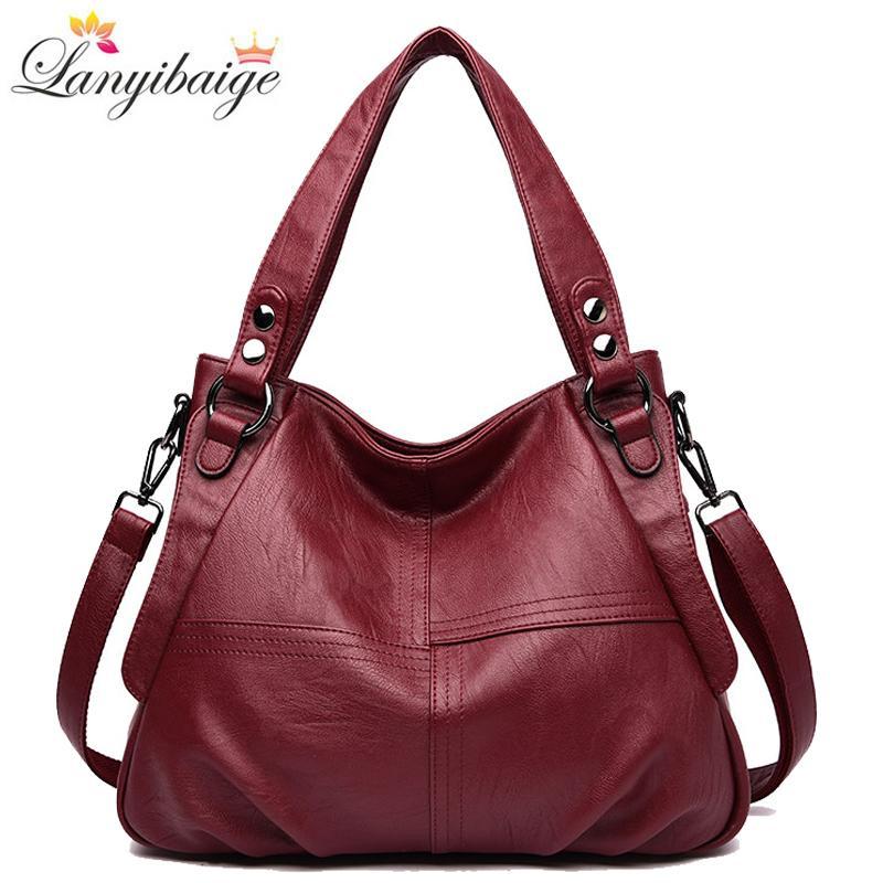 Quality Leather Handbag Casual Crossbody Bags for Women 2020 Ladies Luxury Designer Tote High Capacity Shoulder Bag Sac Q1230