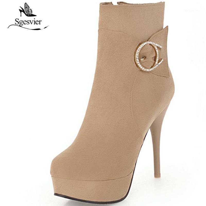 Ssgesvier Winter Neue Mode Schuhe Frau Sexy High Heels Kurzstiefel Elegante runde Zehe Stilettos dünne Fersen Knöchelstiefel Ox7911