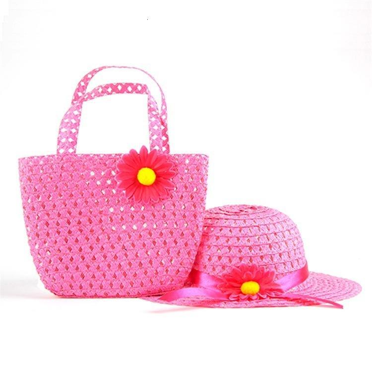 사랑스러운 꽃 일광욕 어린이 소녀 캐주얼 어린이 해변 태양 모자 모자 + 짚 토트 핸드백 가방 세트 1-6 년 아이